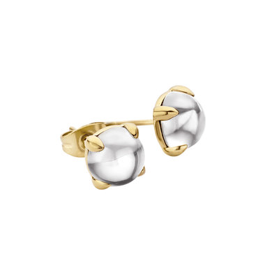 MelanO Friends Oorstekers Edelstaal Goud 8mm Zirkonia Crystal