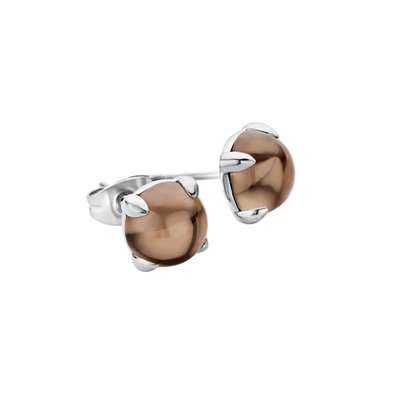 MelanO Friends Oorstekers Edelstaal Zilver 8mm Zirkonia Smoked Topaz