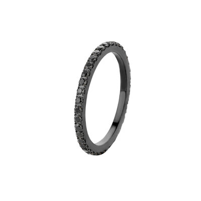 Melano Friends Ring Sade Edelstaal Zwart Zirkonia Black
