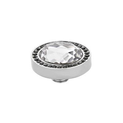 MelanO Vivid Meddy Oval Edelstaal Zilver Zirkonia Black Buitenzijde Crystal Binnenzijde