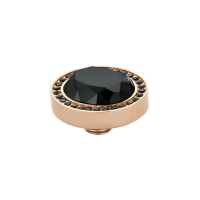 MelanO Vivid Meddy Oval Edelstaal Rose Goud Zirkonia Black Buitenzijde Black Binnenzijde