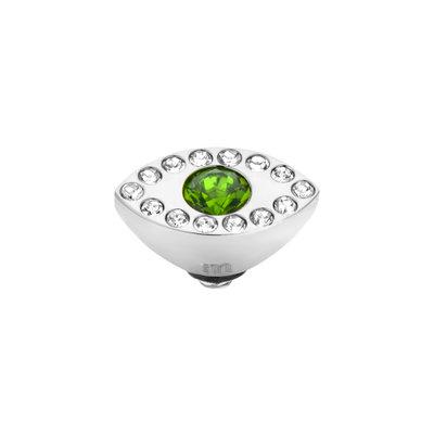 Melano Twisted Eye Meddy Edelstaal Zilver Zirkonia Emerald Green