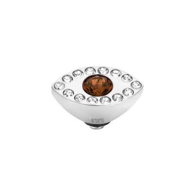 Melano Twisted Eye Meddy Edelstaal Zilver Zirkonia Coffee