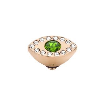 Melano Twisted Eye Meddy Edelstaal Rose Goud Zirkonia Emerald Green