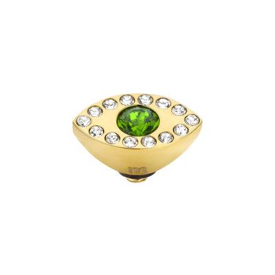 Melano Twisted Eye Meddy Edelstaal Goud Zirkonia Emerald Green