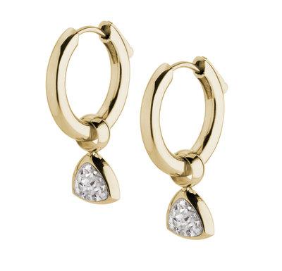 Melano Kim Oorbelhangers Edelstaal Goudkleurig Zirkonia Crystal incl Creolen.