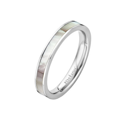 MelanO Twisted Ring Sofia Edelstaal Zilver Sea Shell