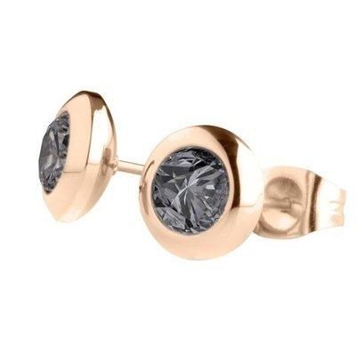 MelanO Magnetic Oorbellen Antraciet Rose Goud