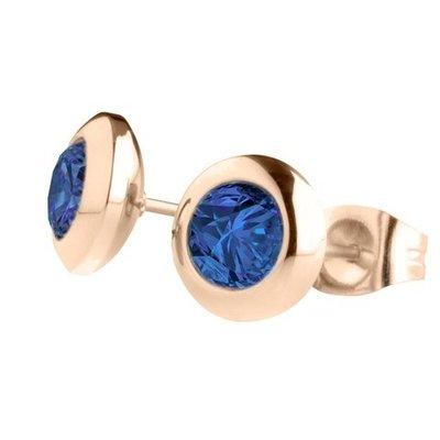 MelanO Magnetic Oorbellen Blue Rose Goud