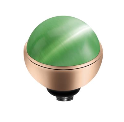 MelanO Twisted Cateye Setting Edelstaal Rose Goud Light Green