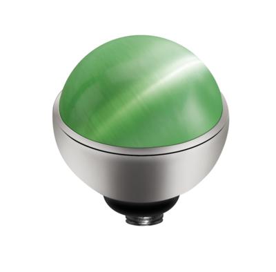 MelanO Twisted Cateye Setting Edelstaal Zilver Light Green