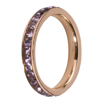MelanO Steel Side Ring Rose Goldplated, Zirkonia Stones Violette