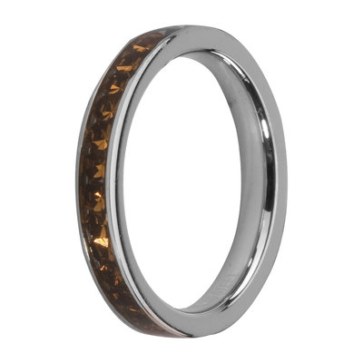 Melano Friends Side Ring, Zirkonia Stones Coffee