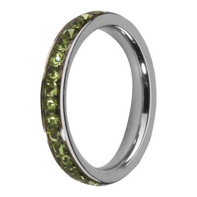 Melano Friends Side Ring, Zirkonia Stones Peridot