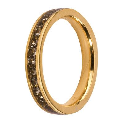 Melano Friends Side Ring Goudkleurig, Zirkonia Stones Black Diamond