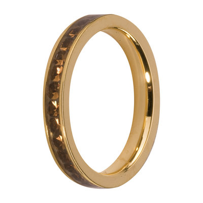 Melano Friends Side Ring Goudkleurig, Zirkonia Stones Coffee