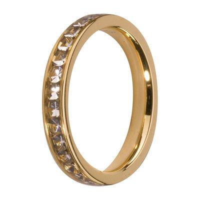 MelanO Steel Side Ring Goldplated, Zirkonia Stones Crystal