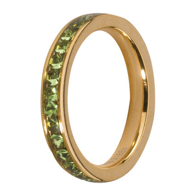 Melano Friends Side Ring Goudkleurig, Zirkonia Stones Peridot