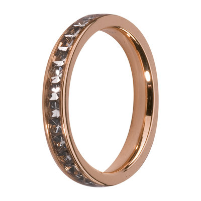 Melano Friends Side Ring Rose Goudkleurig, Zirkonia Stones Black Diamond
