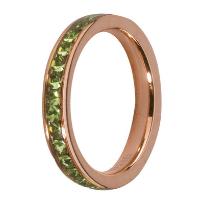 MelanO Steel Side Ring Rose Goldplated, Zirkonia Stones Peridot