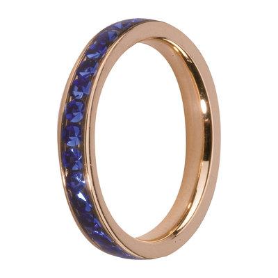 Melano Friends Side Ring Rose Goudkleurig, Zirkonia Stones Blue