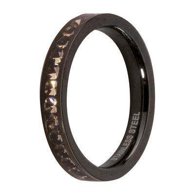 Melano Friends Side Ring Black, Zirkonia Stones Black Diamond