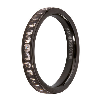 Melano Friends Side Ring Black, Zirkonia Stones Crystal