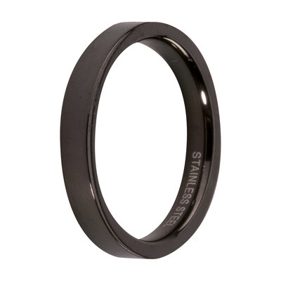 MelanO Steel Side Ring Black, Mat