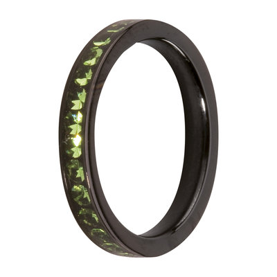 MelanO Steel Side Ring Black, Zirkonia Stones Peridot