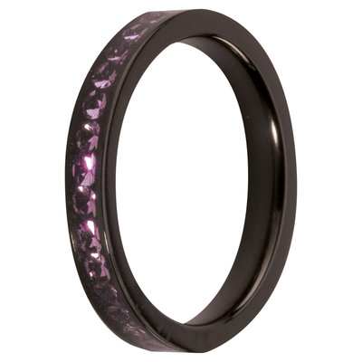 MelanO Steel Side Ring Black, Zirkonia Stones Amethyst
