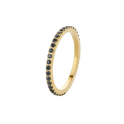 Melano Friends Ring Sade Stainless Steel Gold-coloured Zirkonia Black