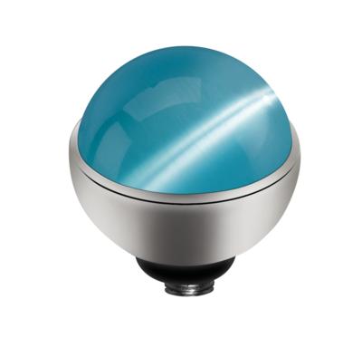 MelanO Twisted Cateye Setting Edelstaal Zilver Light Blue