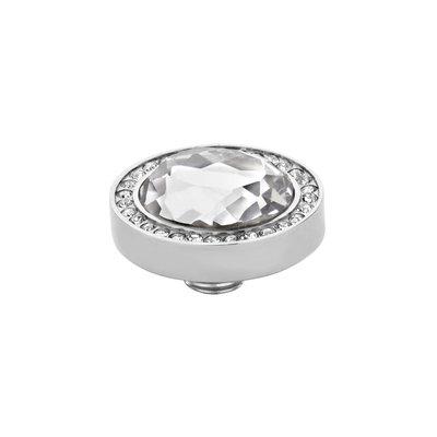 Melano Vivid Meddy Oval Edelstaal Zilverkleurig Zirkonia Crystal Buitenzijde Crystal Binnenzijde