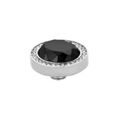 Melano Vivid Meddy Oval Edelstaal Zilverkleurig Zirkonia Crystal Buitenzijde Black Binnenzijde