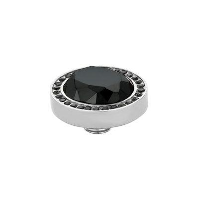 Melano Vivid Meddy Oval Edelstaal Zilverkleurig Zirkonia Black Buitenzijde Black Binnenzijde