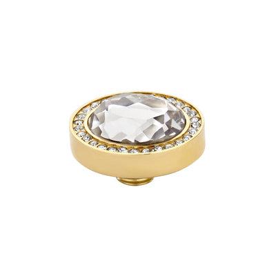 Melano Vivid Meddy Oval Edelstaal Goudkleurig Zirkonia Crystal Buitenzijde Crystal Binnenzijde