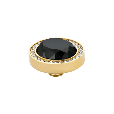 Melano Vivid Meddy Oval Edelstaal Goudkleurig Zirkonia Crystal Buitenzijde Black Binnenzijde