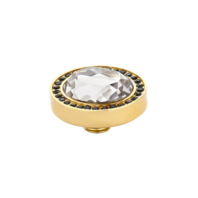Melano Vivid Meddy Oval Edelstaal Goudkleurig Zirkonia Black Buitenzijde Crystal Binnenzijde