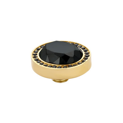 Melano Vivid Meddy Oval Edelstaal Goudkleurig Zirkonia Black Buitenzijde Black Binnenzijde