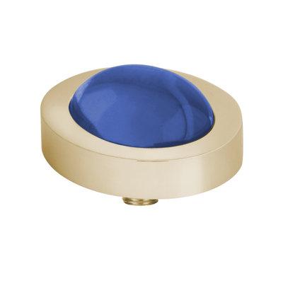 Melano Vivid Meddy Oval Edelstaal Goudkleurig Zirkonia Bal Blue