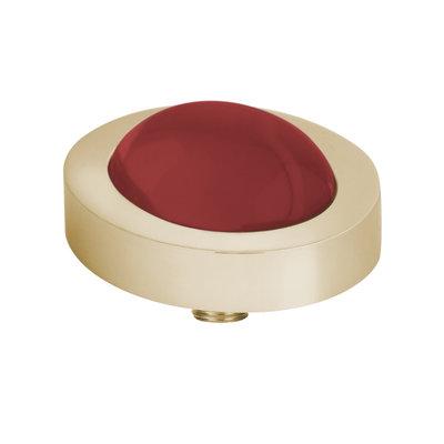 Melano Vivid Meddy Oval Edelstaal Goudkleurig Zirkonia Bal China Red