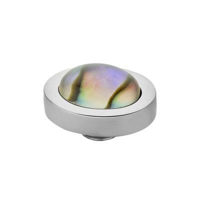 Melano Vivid Meddy Edelstaal Zilverkleurig ovaal Abalone 10mm