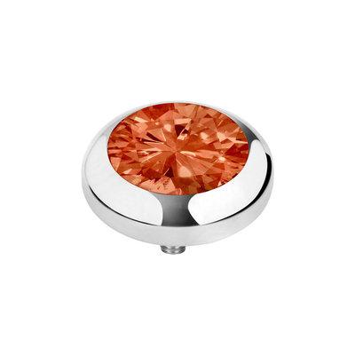 Melano Vivid Zirkonia Meddy Edelstaal Zilverkleurig Coral Red