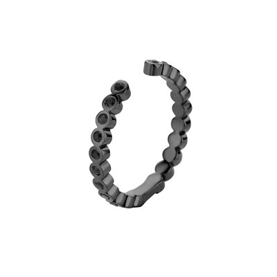 Melano Twisted Ring Tina Edelstaal Zwart Zirkonia Black