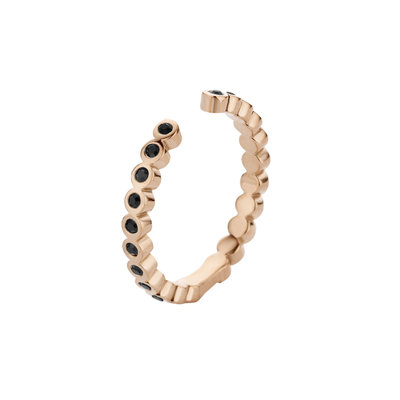 Melano Twisted Ring Tina Edelstaal Rose Goudkleurig Zirkonia Black