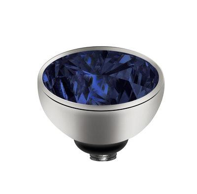 Melano Twisted Meddy Zirkonia Edelstaal Zilverkleurig Navy Blue