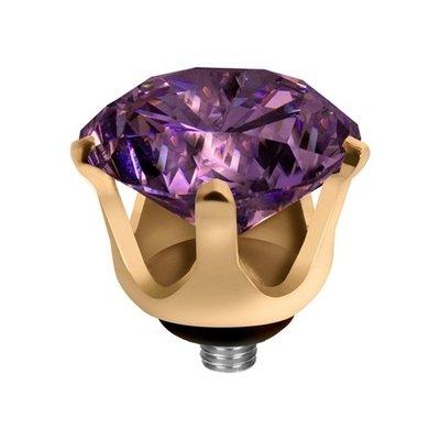 Melano Twisted Crown Edelstaal Meddy Goudkleurig Purple