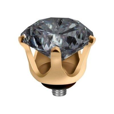 Melano Twisted Crown Edelstaal Meddy Goudkleurig  Antracite