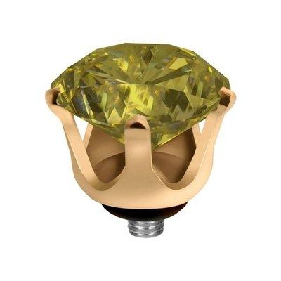 Melano Twisted Crown Edelstaal Meddy Goudkleurig Lime