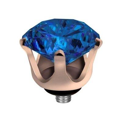 Melano Twisted Crown Edelstaal Meddy Rose Goudkleurig Blue